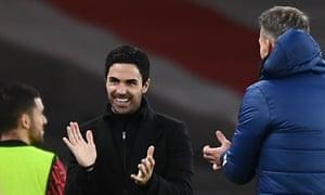 Arsenal Manager Mikel Arteta celebrates.