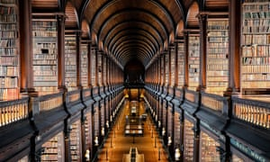 Long room library at Trinity College, Dublin. Ireland