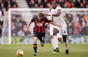 Bournemouth's Ryan Fraser keeps hold of Paul Pogba of Manchester United at The Vitality Stadium. United won the match, caming back after going one down to win 2-1.