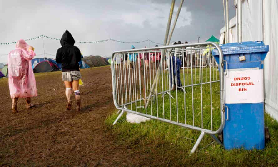 Special 'amnesty bins' for revellers to dump their drugs in were stationed around the T in the Park festival site