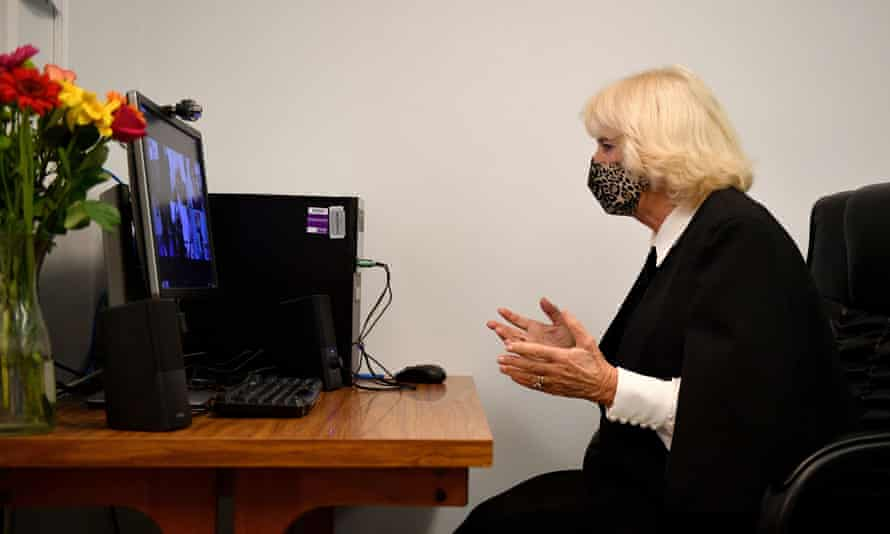 Camilla, Duchess of Cornwall, participates in a Zoom call with members of the Pepper Pot Centre, a charity set up to support African and Caribbean older people in London.