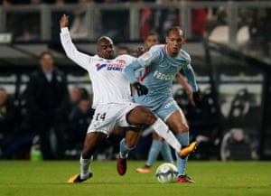 The former Chelsea forward Gaël Kakuta vies for the ball with Monaco's Fabinho.