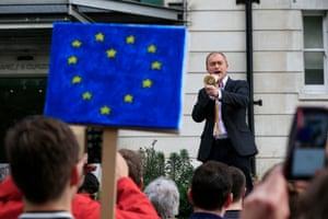 Lib Dem leader Tim Farron addresses remain supporters on Park Lane