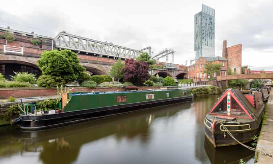 the rochdale canal seen from the castlefield basin in manchester