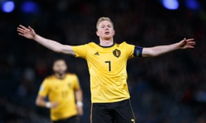 Kevin De Bruyne assisted three goals and scored the fourth for Belgium.