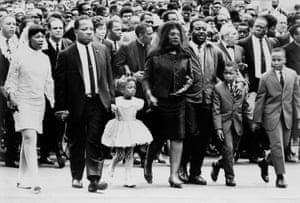 The family of Dr. Martin Luther King, Jr. walk in the funeral procession of the slain civil rights leader, in Atlanta.