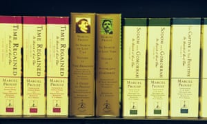 Proust's works on a bookshelf