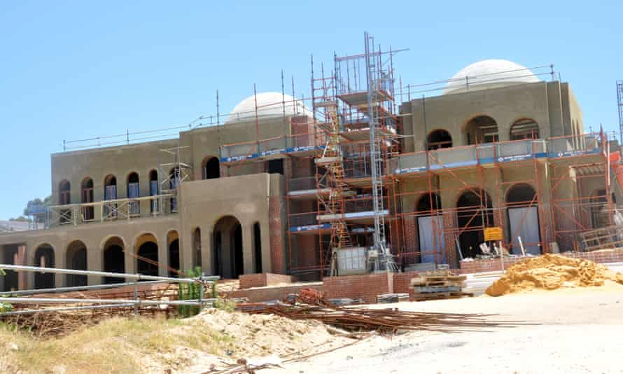 The Oswals' unfinished $70m Perth mansion, dubbed the Taj Mahal on the Swan
