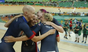 Team GB's Joanna Rowsell-Shand, Elinor Barker, Katie Archibald and Laura Trott celebrate winning the women's team pursuit gold medal on day 8 of the 2016 Olympic Games in Rio de Janeiro, Brazil