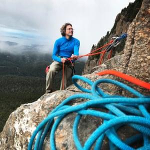 John Fischer climbs Fiddlesticks route