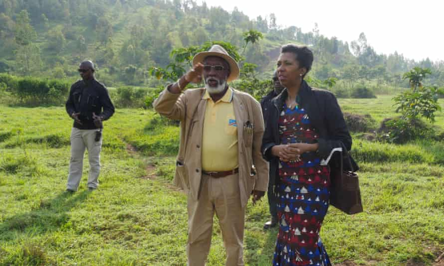 Jeanine Mabunda looks over the site for a memorial garden to rape survivors, with the governor of South Kivu