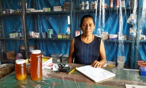 Retired community nurse Agustina Sarabia, 61, in her small pharmacy Santiago Nuyoó: 'Now, communication will be private and fast.'