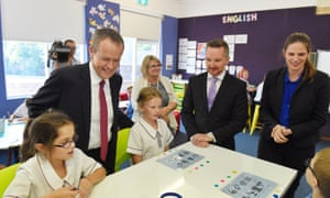 Bill Shorten, shadow treasurer Chris Bowen and shadow minister for education, Kate Ellis, visit a Sydney primary school in March.