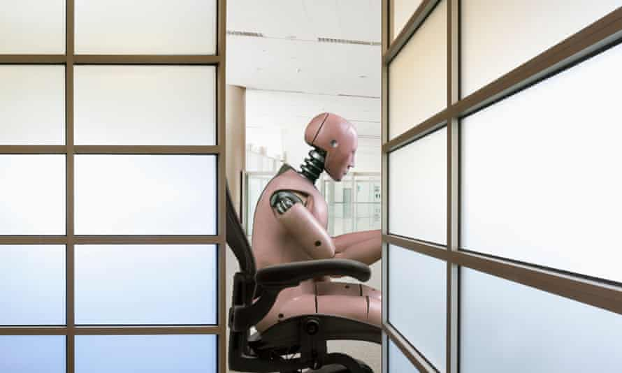 robot working in an office