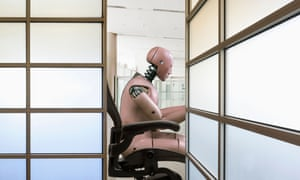 Robot working at a desk