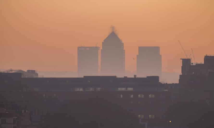 Hazy early morning view of Canary Wharf in London