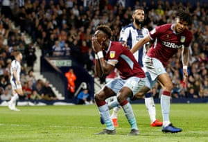 Aston Villa's Tammy Abraham reacts after missing a chance to score.
