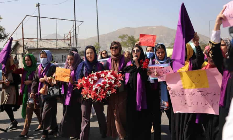 Women in Kabul rallied for their rights.