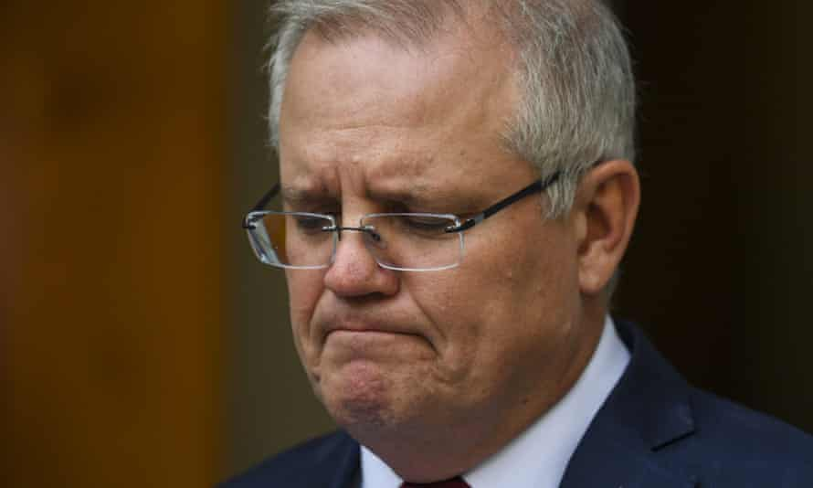 Scott Morrison speaks to the media during a press conference at Parliament House