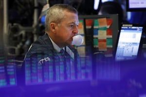 Trader James Lamb on the floor of the New York Stock Exchange today.