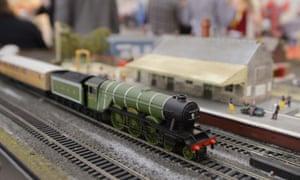 A Hornby train set at a toy fair in London