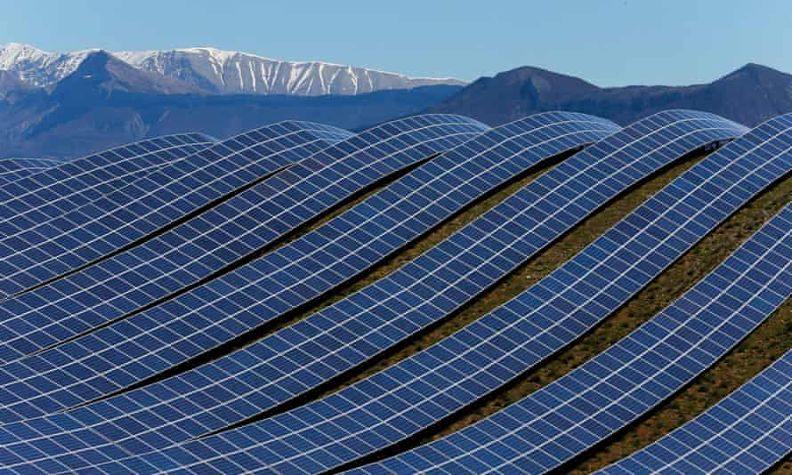A huge solar installation in Les Mees, in the department of Alpes-de-Haute-Provence. France is predicted to miss both renewable and energy efficiency targets.