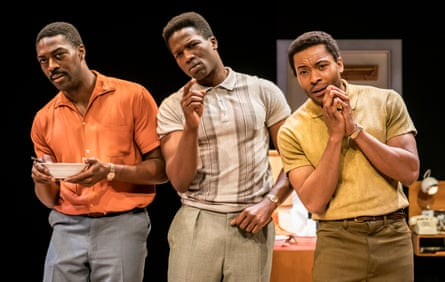 David Ajala as Jim Brown, Sope Dirisu as Cassius Clay and Arinzé Kene as Sam Cooke in One Night in Miami.