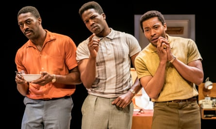 David Ajala (as Jim Brown), Sope Dirisu (as Cassius Clay) and Arinzé Kene (as Sam Cooke) in One Night in Miami at the Donmar Warehouse in 2016.