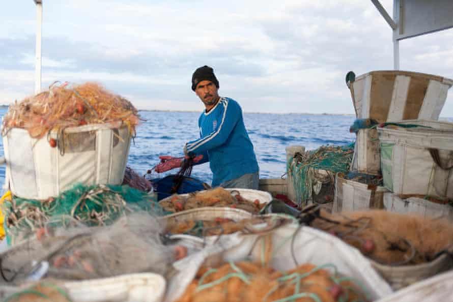 Mediterranean fisher on boat