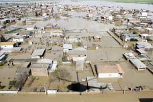 An aerial view of flooding in Golestan province, Iran