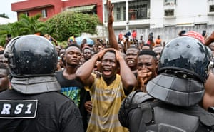 """Abidjan, Ivory CoastFans cry outside a hospital after Ivorian singer DJ Arafat, star of the """"coupe-décale"""" and one of the most popular Ivorian artists, died at the age of 33 following a motorcycle accident."""