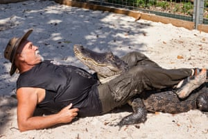 Bob wrestling an alligator, Everglades Outpost Wildlife Refuge, Homestead, FL, 2014'In this book, I have included only people totally dedicated to the wellbeing of the animals in their care, people whose animals appeared to be well cared for both physically and emotionally. Many of the people I photographed have dedicated most of their adult lives to saving animals. Those who run rescues and refuges give selflessly of their time, energy, and money. Their incredible commitment and sacrifices preclude vacations and other aspects of conventional life that most of us take for granted'