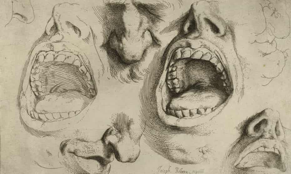 Jusepe de Ribera's Studies of the Nose and Mouth, a detailed study of a mouth screaming in pain, circa 1622.
