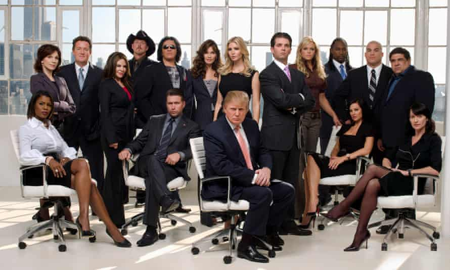 Trump with the cast of the first season of The Celebrity Apprentice, broadcast in 2008.