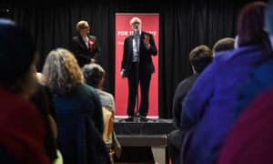 Jeremy Corbyn speaks at an election campaign event in Morecambe.