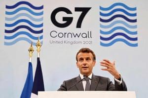 Emmanuel Macron at his post-summit press conference.
