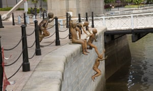 Chong Fah Cheong's bronze sculpture the First Generation shows five boys jumping into the Singapore river. He says that the piece reflects on his younger days when children played in the river – something that is unlikely to be possible in such a city now.