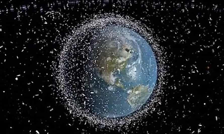 Model (not to scale) of debris from the thousands of satellites sent into orbit over the last half-century. An accident waiting to happen?