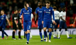 Chelsea's Jorginho, Andreas Christensen & Antonio Rudiger show their disappointment after defeat despite largely controlling the second half.