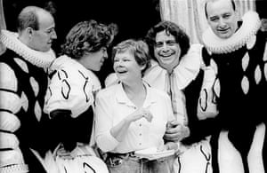 Director Judi Dench, centre, with Peter Woodward, Gavin Muir, Richard O'Callaghan and Bill Homewood during rehearsals of The Boys from Syracuse, based on Shakespeare's The Comedy of Errors, in 1991