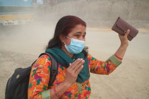 Shova Regmi spends four hours a day commuting to and from work. 'It's very difficult now. My health is bad. It's like I'm suffocating. It creates a lot of stress, but it will be better in the future.'
