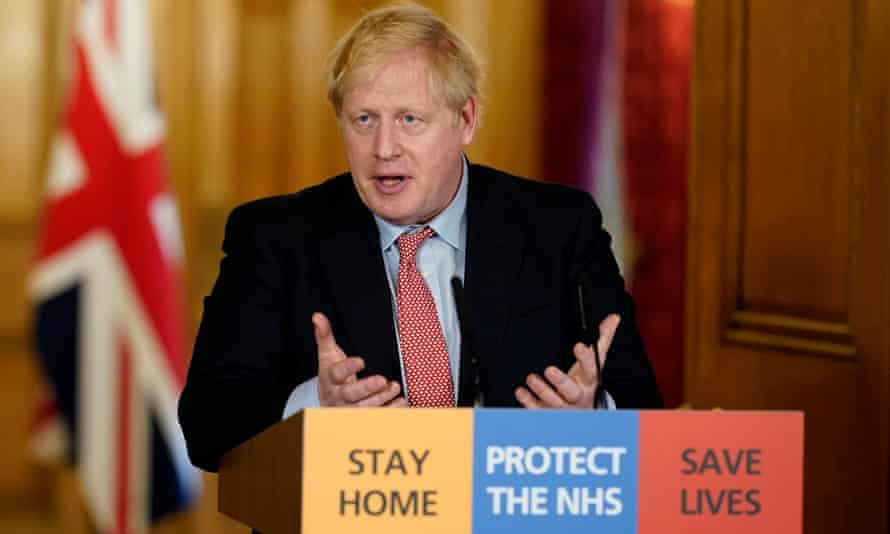 Boris Johnson during his first remote press conference from Downing Street