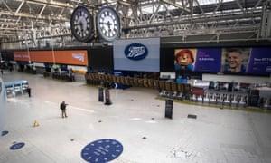 A near empty Waterloo station in London in May.
