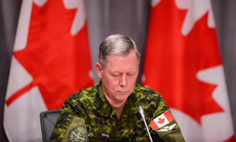Chief of Defence Staff Jonathan Vance takes part in a press conference in Ottawa to announce five missing crew members are presumed dead. Six people were aboard the Canadian Forces helicopter that crashed off Greece during a training exercise.