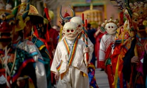 <strong>Beijing, China</strong><br>Tibetan monks dressed as demons attend the Beating Ghost festival at the Yonghe temple. The festival is an important ritual of Tibetan Buddhism and is believed to expel evil spirits and shake off troubles