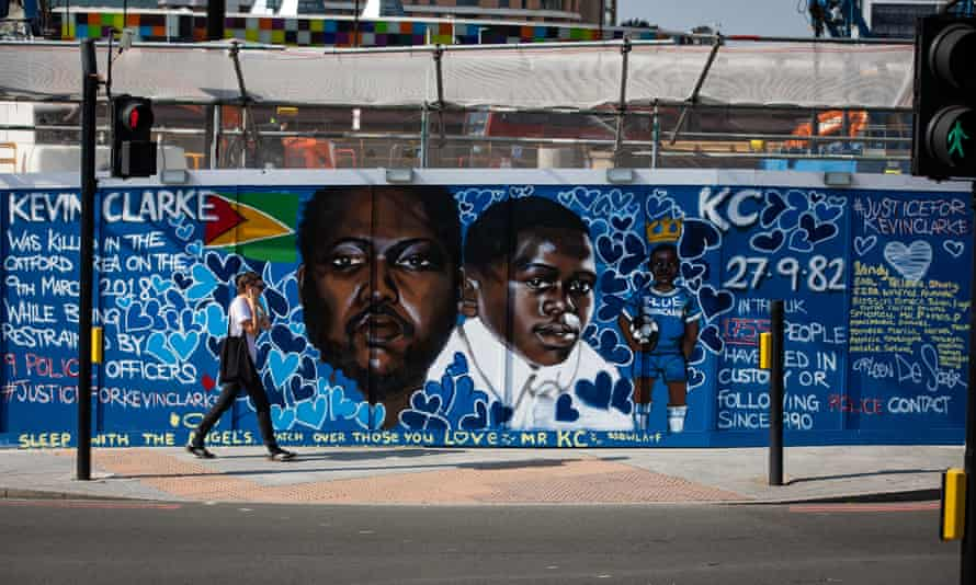 A mural commemorating Kevin Clarke, who died after he was restrained by Metropolitan police officers in March 2018, in Lewisham, south London