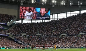 Respect is paid around the ground in the form of a minute's applause in memory of former Tottenham player Justin Edinburgh.