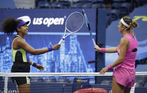 Naomi Osaka of Japan (L) and Victoria Azarenka of Belarus in a physically distanced greeting at the net after Osaka defeated Azarenka to win the Women's Final match on the thirteenth day of the US Open Tennis Championships the USTA National Tennis Center in Flushing Meadows, New York, USA, on 12 September 2020. Due to the coronavirus pandemic, the US Open is being played without fans and runs from 31 August through 13 September.
