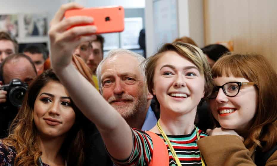 Jeremy Corbyn poses for selfies at a campaign event in Leeds.