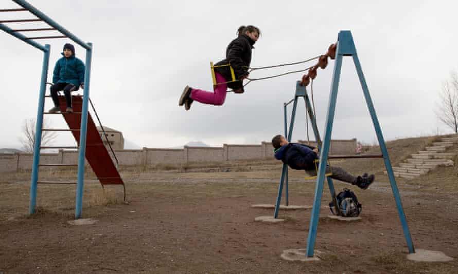Children play at a school in Gavar, Armenia